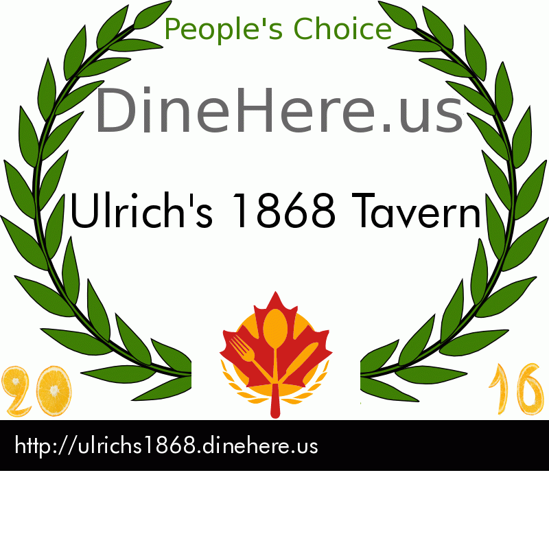 Ulrich's 1868 Tavern DineHere.us 2016 Award Winner